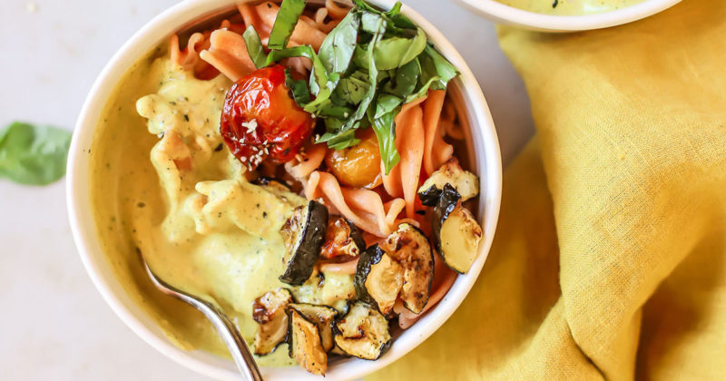 Golden zucchini cherry tomato pasta